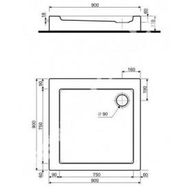 Kolo XBK0690 SIMPLO Поддон 90(квадр.)