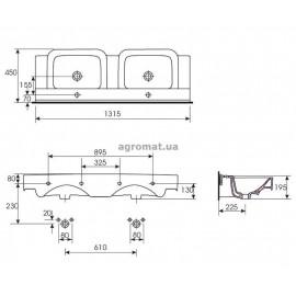 Раковины и ножки Cersanit DECO Раковина-130 д/тумб. подвійна, 2-отв.