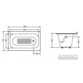 Чугунная ванна Goldman Classic 150х70 см