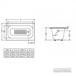 Чугунная ванна Goldman Classic ZYA-8-7 170х70 см