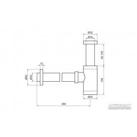 Сифон Devit 53412100 под донный клапан, для раковины