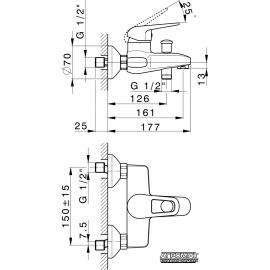 Смеситель для ванны PRIMERA Piano 10120014