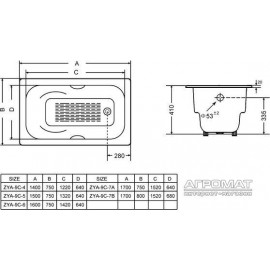 Чугунная ванна Goldman Donni ZYA-9C-5 150x75 см