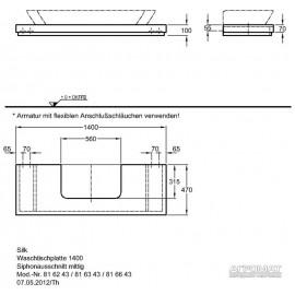 Столешница под раковину Keramag Silk 816343 140 см