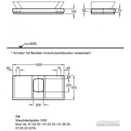 Столешница под раковину Keramag Silk 816600 100 см