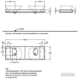 Столешница под раковину Keramag Silk 816642 140 см