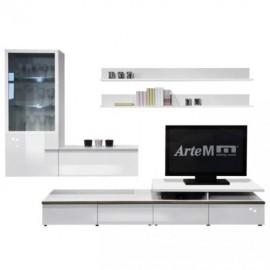 Шкаф навесной Arte-M Linea (white/white HG/silver) 267 4058