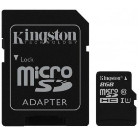 Карта памяти Kingston microSDHC 8 Gb UHS-I+adapter U1 (R45, W10MB/s)
